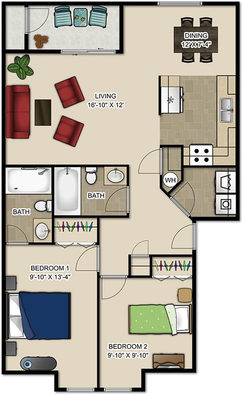 Heritage Park Apartments 2 Bedroom Floor Plan