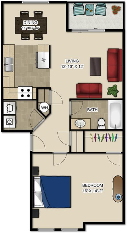Heritage Park Apartments 1 Bedroom Floor Plan